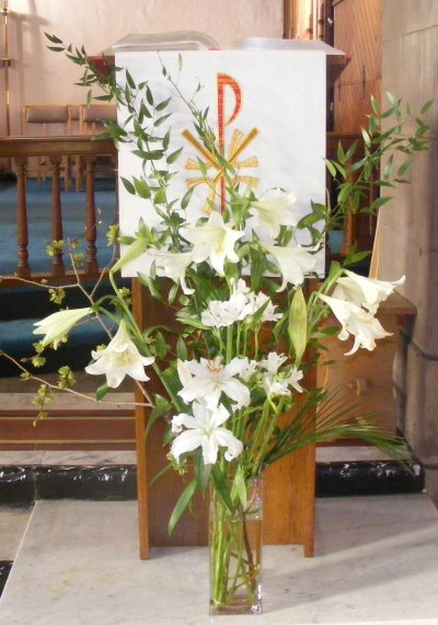 Easter lilies at lectern