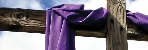 Cross purple cloth
