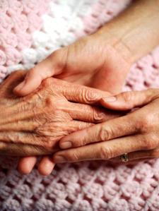 holding hands elderly